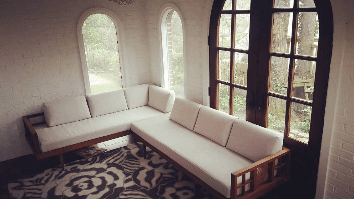 Reupholstered Vintage Sofa in Sunroom
