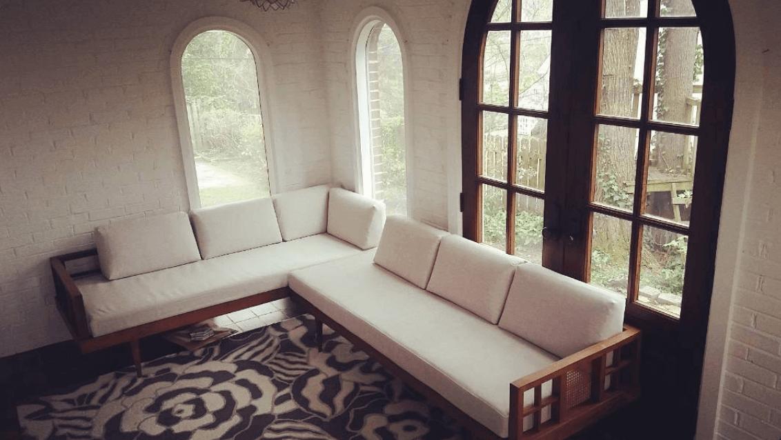 Reupholstered Vintage Sofa in Sunroom