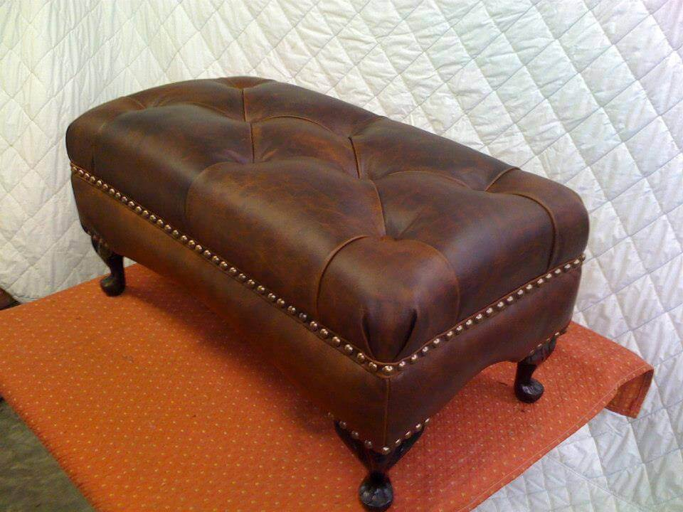 leather ottoman reupholstered
